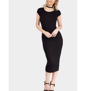 Classic Black Pin Up Style Bodycon Midi Dress